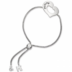 925 Silver Mommy Me Design Adjule Lariat Bracelet 10 5 Bp29