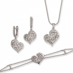 925 Silver Open Heart Design Bracelet Earring And Pendant Set 3228